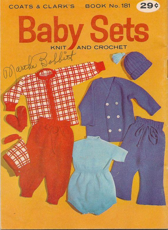 VINTAGE CRAFT BOOK Coats & Clark's Baby Sets Knit by HazelCatkins