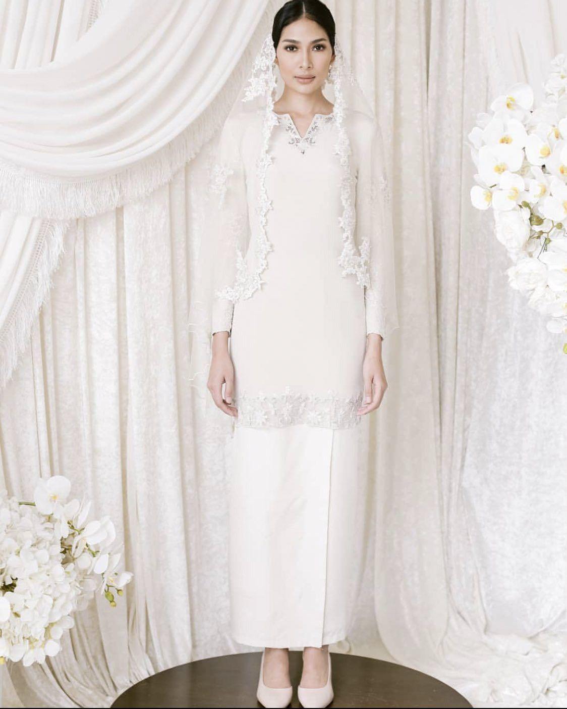 Baju nikah putih  Minimal wedding dress, Hijab wedding dresses