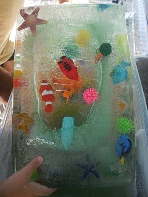 love this for summer fun - freeze toys in ice and let kids use salt, water, tools, etc. to get them out.