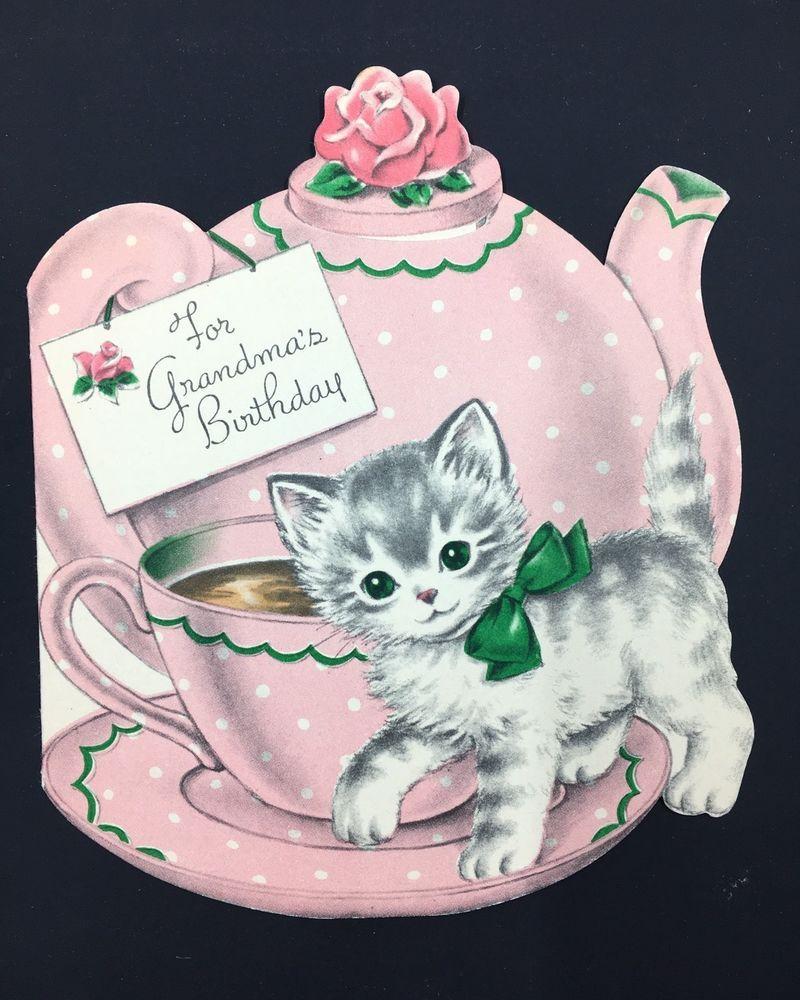 Kitten with Pink Teapot & Teacup Vintage Birthday Card