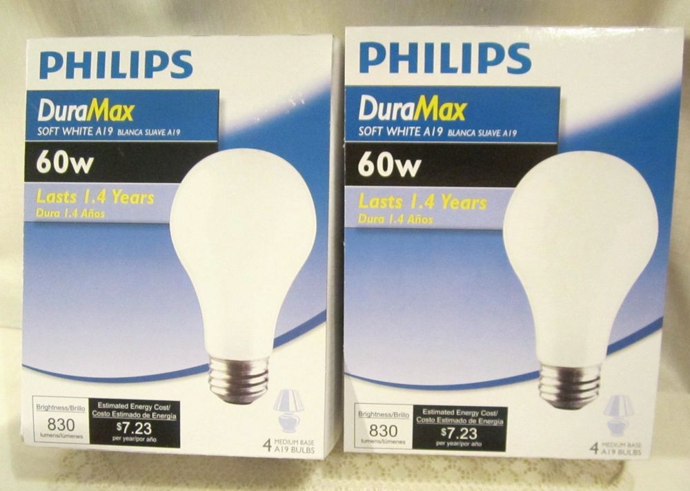 8 2 Packages Phillips Duramax 60w Soft White A19 Light Bulbs White Light Bulbs Bulb Light Bulbs