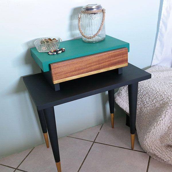 Peindre sa table de chevet #scandinave avec la #peinture decoCème de - Peindre Table De Chevet