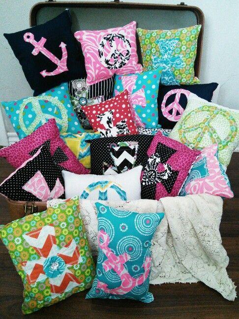 Peace sign, cross, & anchor pillows