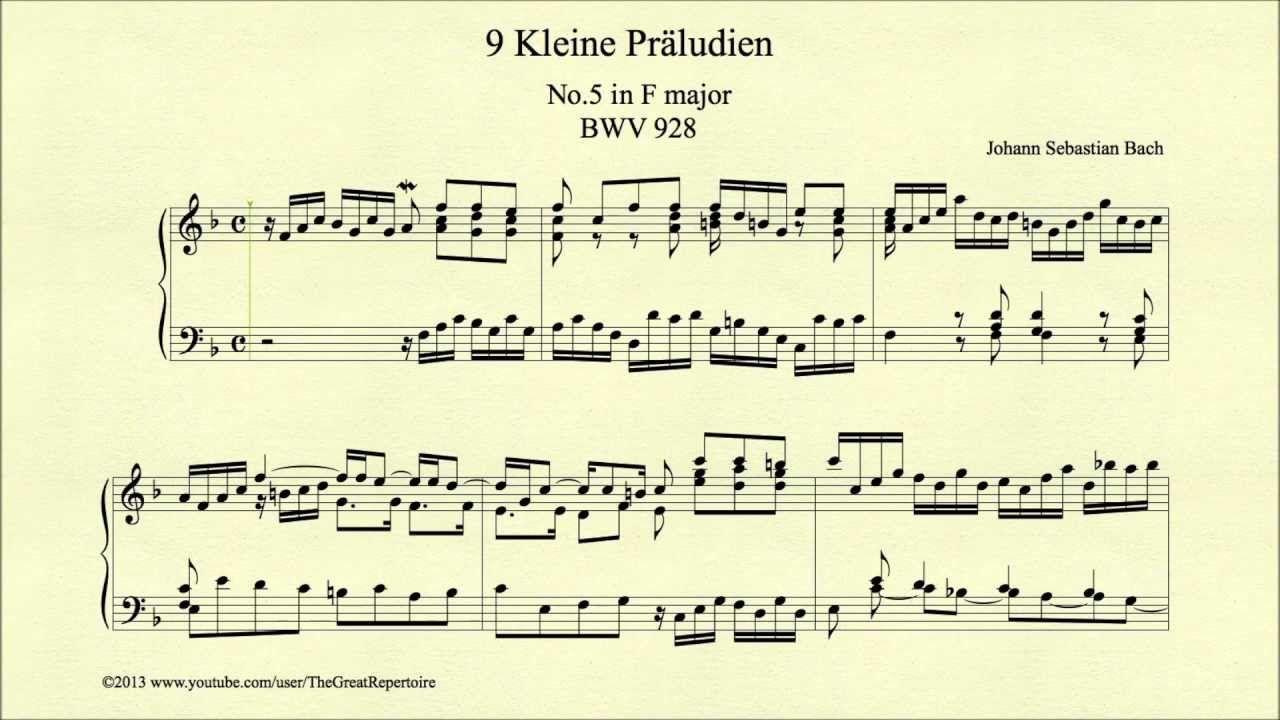 """Bach, """"Prelude in F major, BWV 928, Piano"""""""