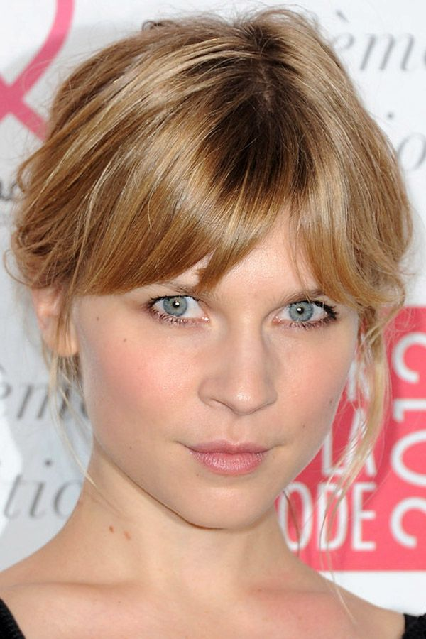 Clémence Poésy's top 10 looks: Loose updo with bangs, shimmering nude liner and flushed cheeks http://beautyeditor.ca/2014/03/26/clemence-poesy-hair-and-makeup/