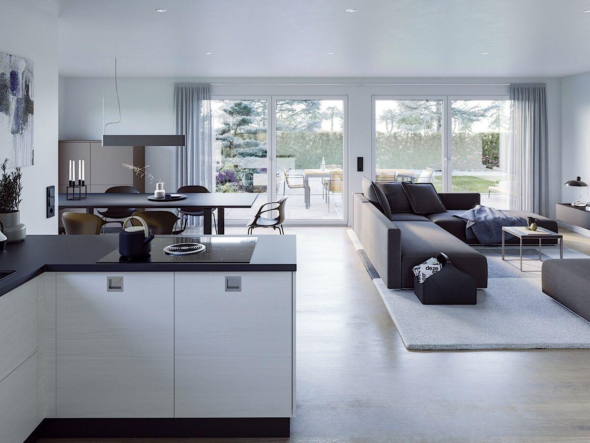 Bungalow Haus innen modern, offene Küche mit Wohnzimmer ...