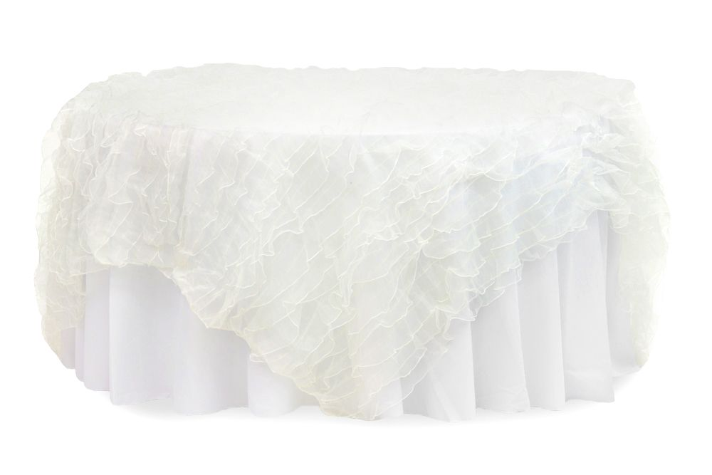Ruffled Sheer Organza Table Overlay Topper 85 X85 Square Ivory Clearance