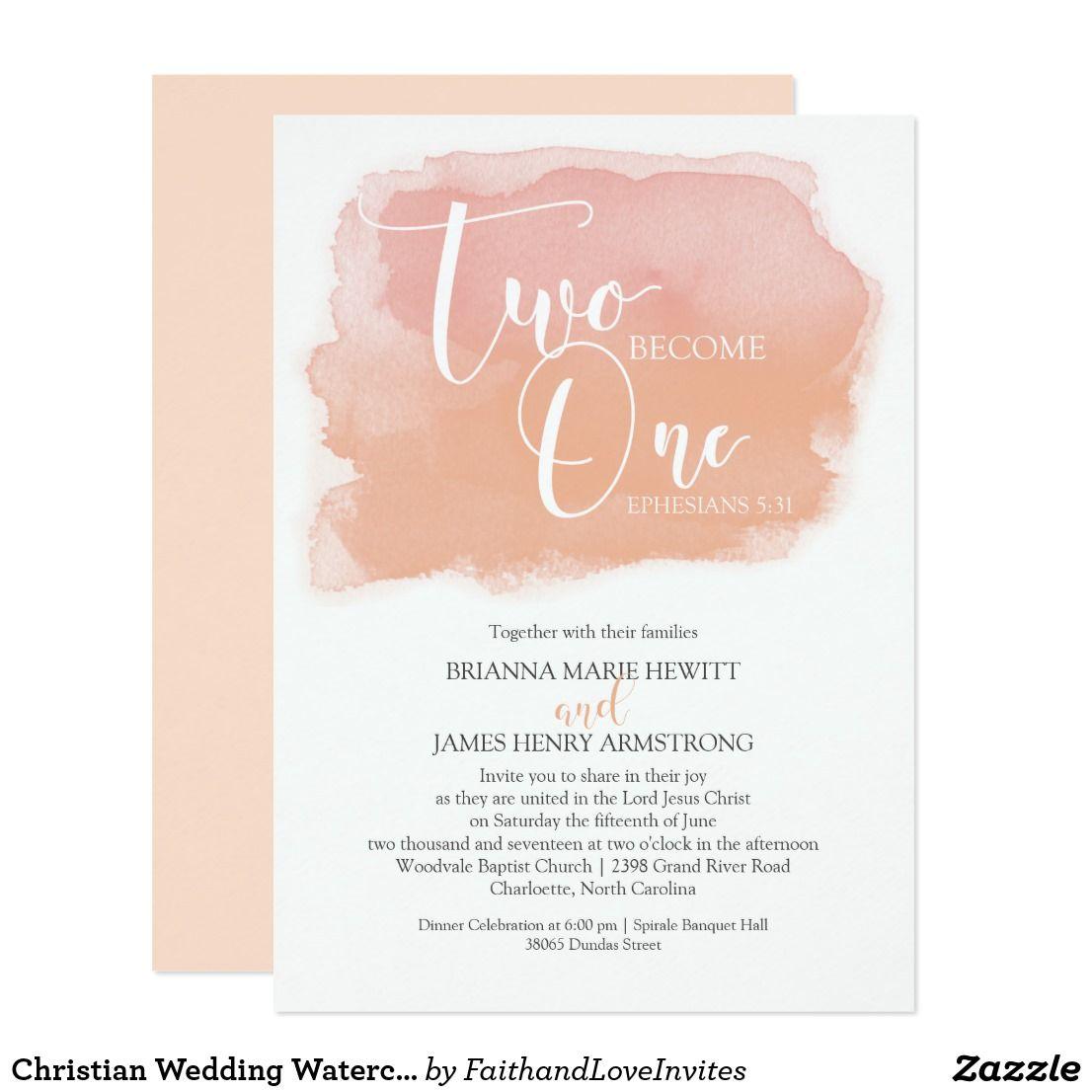 Christian Wedding Watercolor Coral Shades Invitation | { Wedding ...