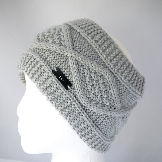 7c8fd3cfaa4 Gray Satin Lined Winter Turban - Non Wool Knit Pony Tail Hat with Lining -  Cabled Messy Bun Hat with