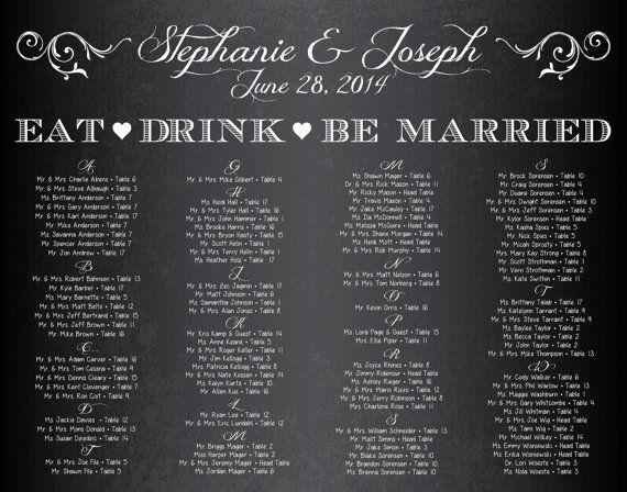 22x28 Chalkboard Wedding Seating Chart 1 Digital By Kpjdesigns 36 00 Seating Chart Wedding Chalkboard Wedding Wedding Seating