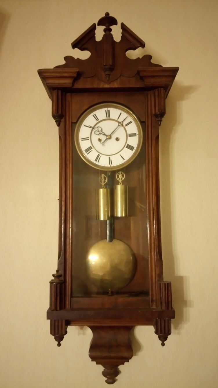 Austrian Wall Regulator Clock Two Weight Short Pendulum Spire Steel Wire One Week Running From The 1880s Manufactured Piece Antique Clocks Vintage Clock Clock