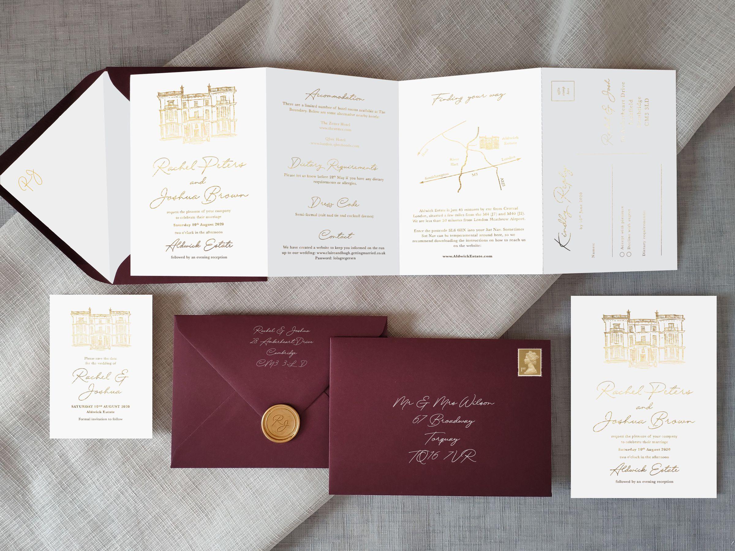 Foiled Venue Wedding Invitations Fun wedding invitations