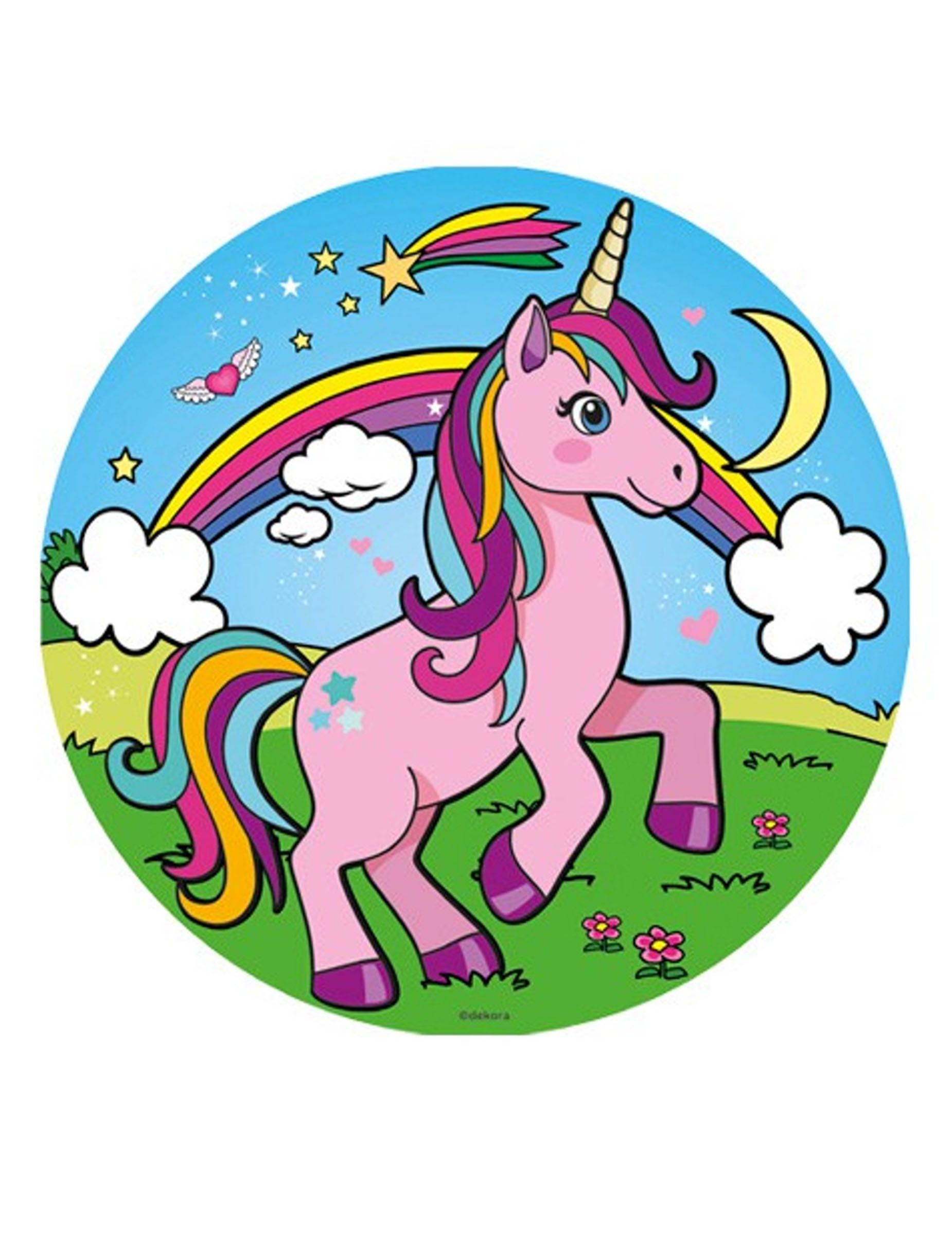 Disque azyme Licorne 20 cm | Paint | Unicorn drawing