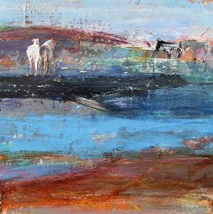 "Across the River by Dominique Samyn Print on wood (Giclee) with layer of resin ~ 12"" x 12"""