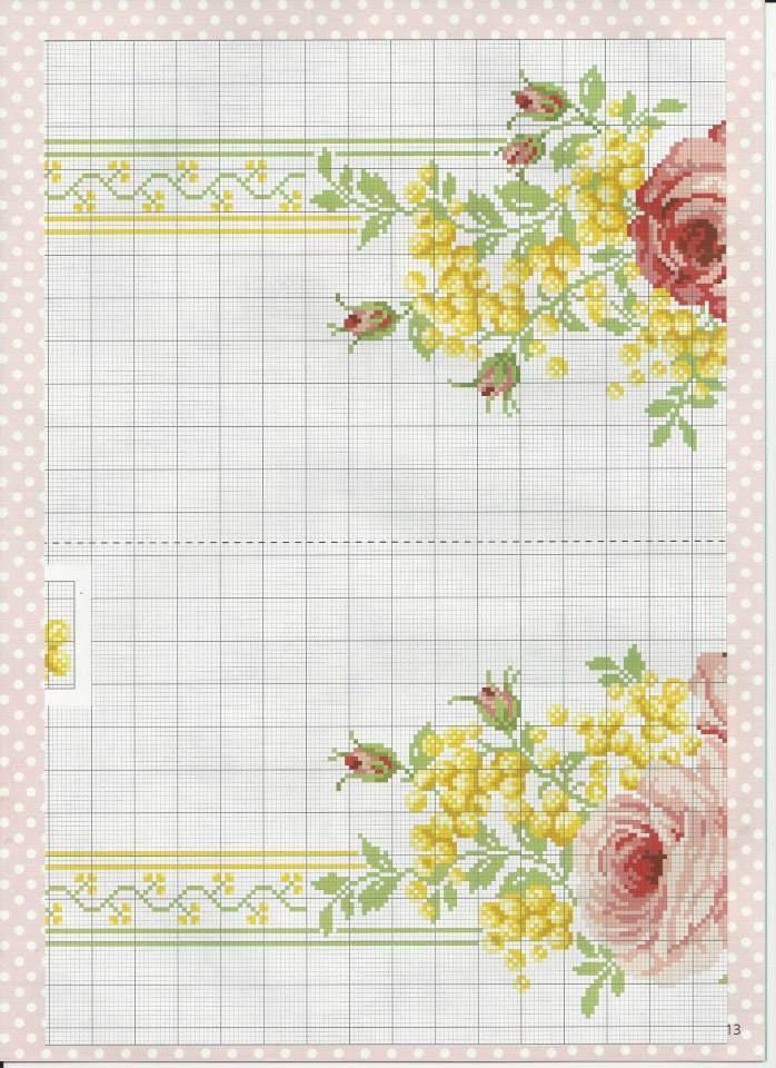 PATRONES PUNTO DE CRUZ GRATIS: Gráfico de un bello mantel de flores ...