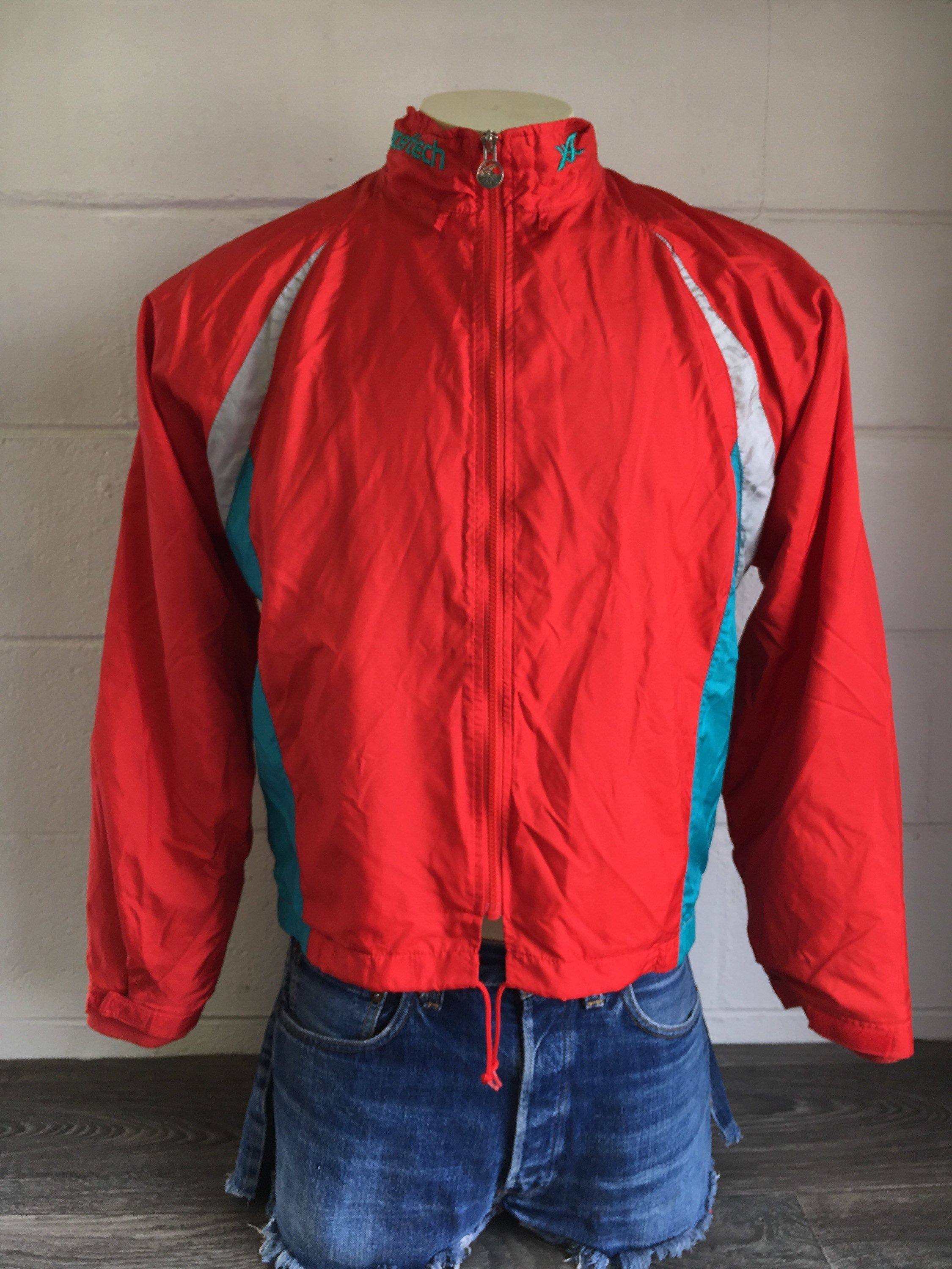 5b1d5b7431df ASICS Jacket WINDBREAKER 80 s Vintage EXCELTECH  Full Zip Warm Up Running  Track Reflective Red Color Block Excellent Condition! Large by  sweetVTGtshirt on ...