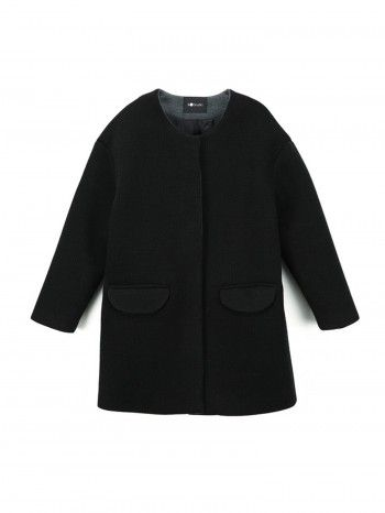 W Studio Cushiness Roundneck Coat_Black