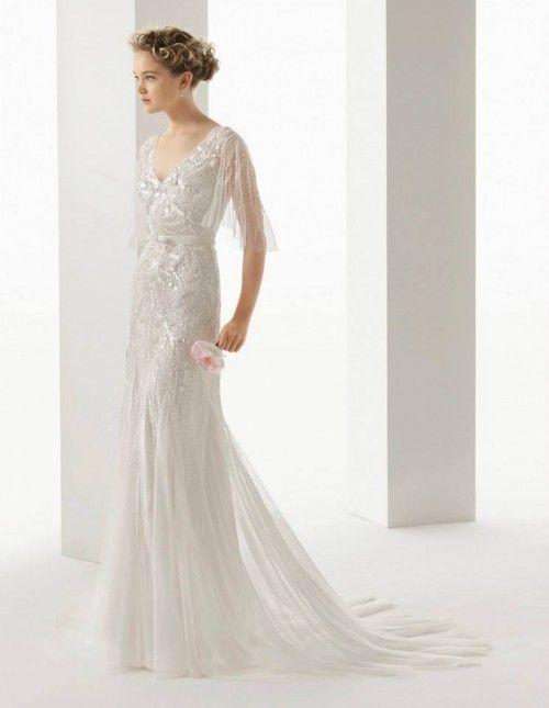 vestido de novia 2014 en color blanco con funda de pedrería - foto