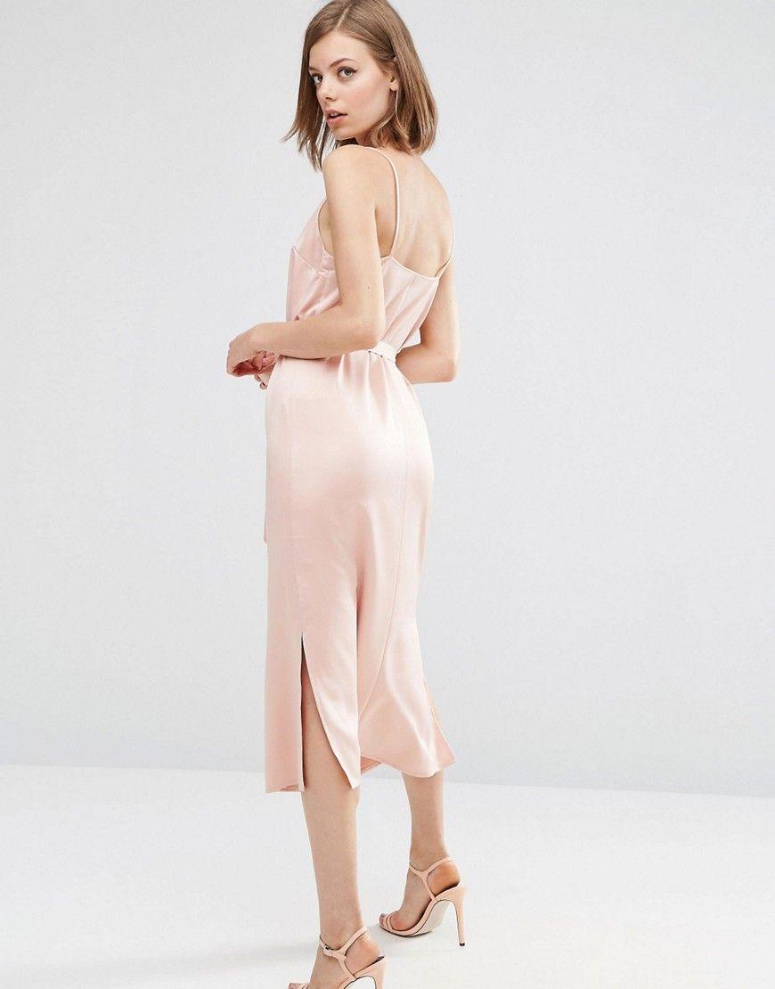 7da210e90256 ASOS Midi Slip Dress in Satin With Tie Waist - Pink | satin in 2019 ...