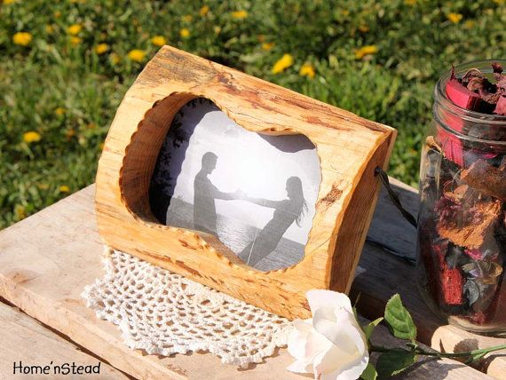Rustic Wood Picture Frame Free Standing Personalized Custom Burning Options
