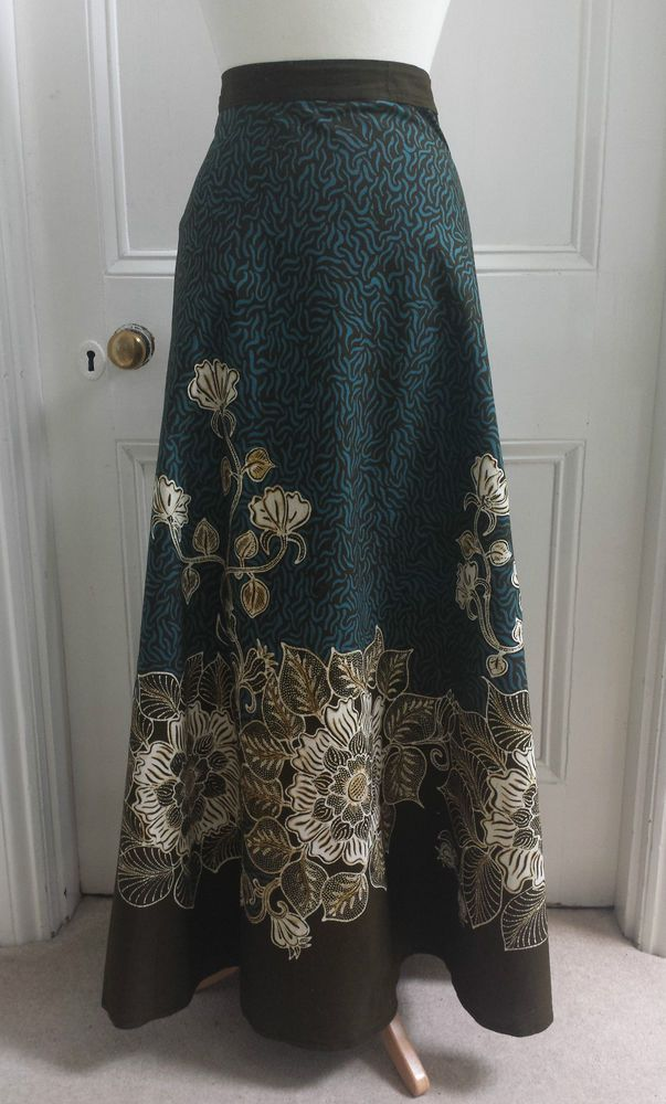 Vtg 70s Wrap Around Ethnic Maxi Skirt Bohemian Hippie India Boho Gypsy 12 14 16