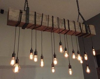 Farmhouse light fixture 84 Reclaimed Barn Beam with wrapped LED Edison Lights. Industrial lighting