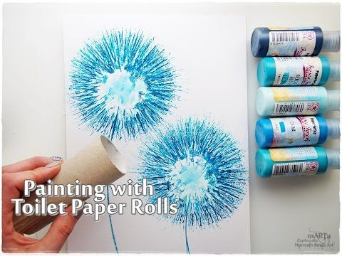 Toilet paper rolls dandelion painting technique for for Painting toilet paper rolls