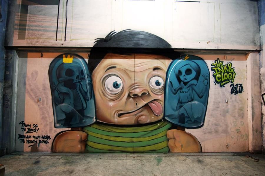 Inkten and Clogtwo in Bandung, Indonesia with The Yellow Dino and Mute Crew.