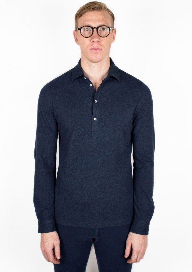 Long Sleeve Cashmere/Cotton Polo Shirt - Indigo - Polo Shirts - Clothing