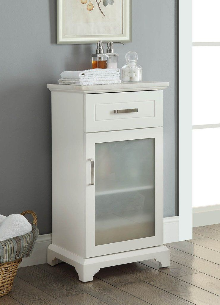 White Apothecary Storage Cabinet With Marble Top In 2019