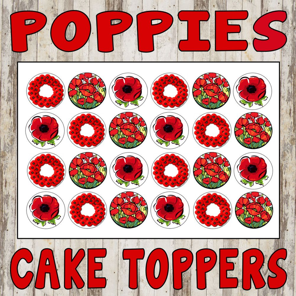 POPPIES CUPCAKE TOPPERS CAKE RICE PAPER FLOWERS POPPY