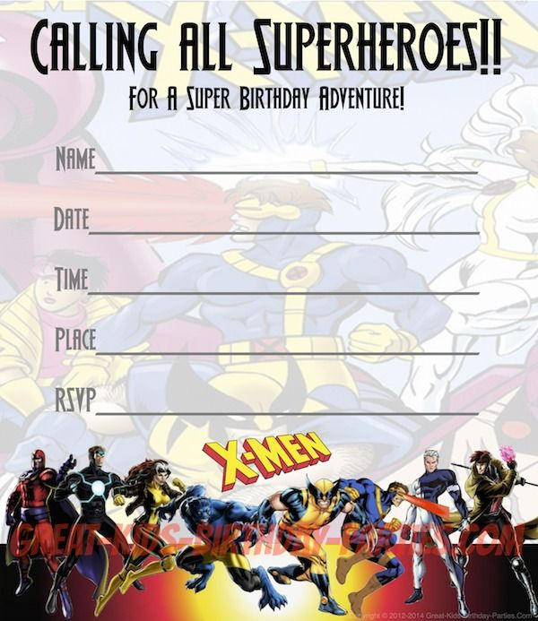 Free XMEN Party Invitations Print these fun invitations for – Superheroes Party Invitations