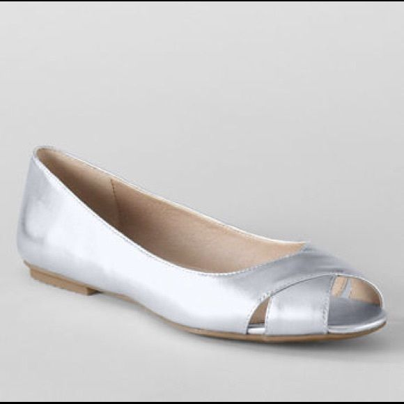 Lands' Toe Flats End Peep Shoes Silver L5ARj43