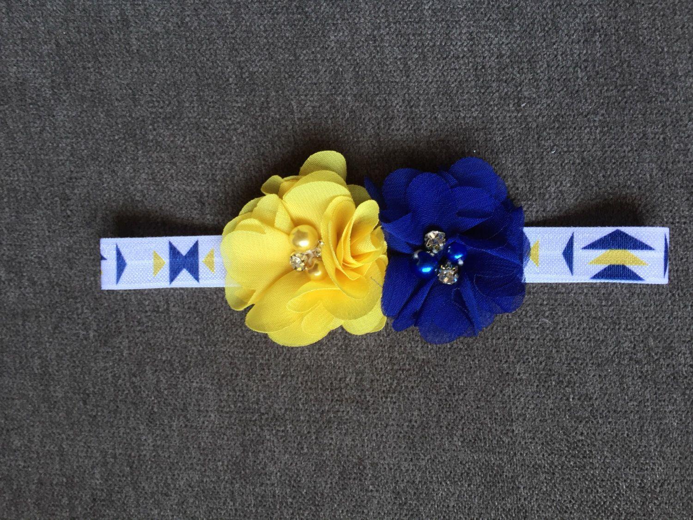 Handmade Baby Headband Blue And Yellow Bowtie Headband With Choice