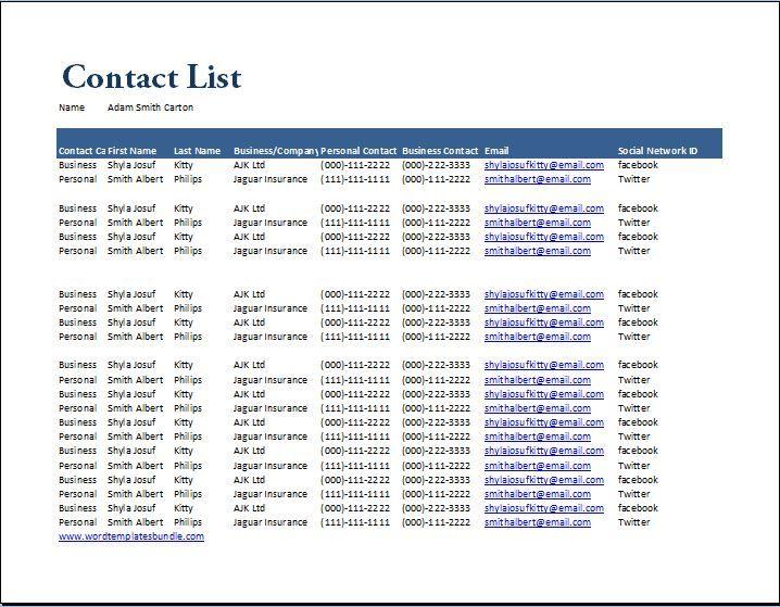 Generic Contact List Template At Wordtemplatesbundle Com Word