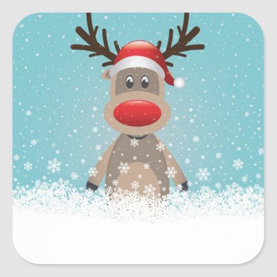 Christmas, Homemade Treats, Reindeer, Custom Square Sticker #bonpourcalendrierdelavent