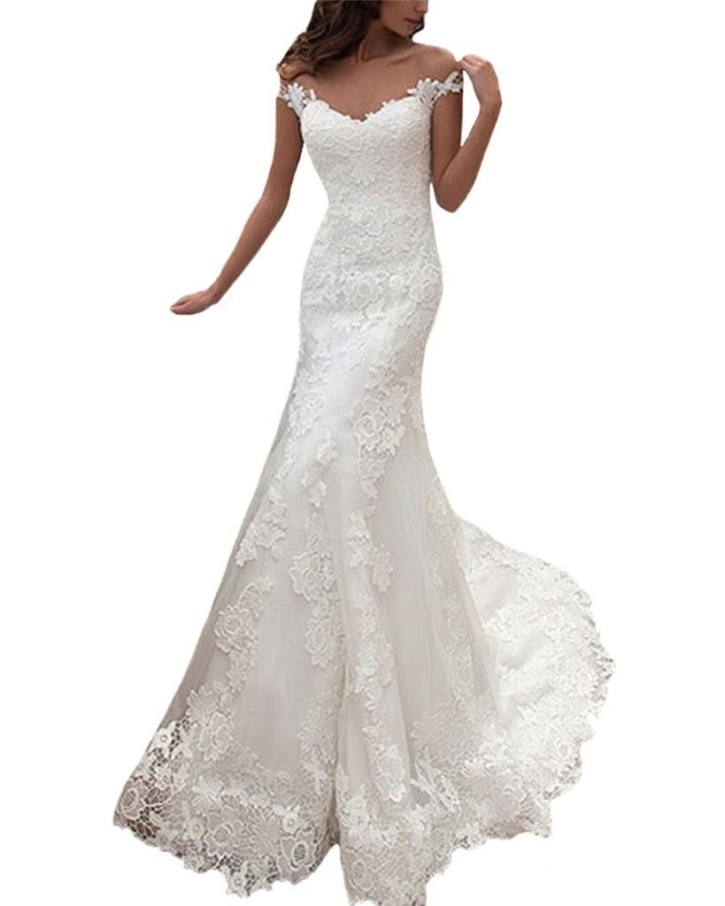 Yilis womenus illusion neck cap sleeve lace mermaid wedding dress