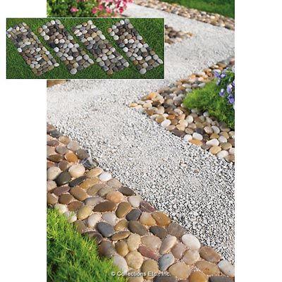 Set Of 4 Stone Garden Border Path Mats Garden Borders Lawn And