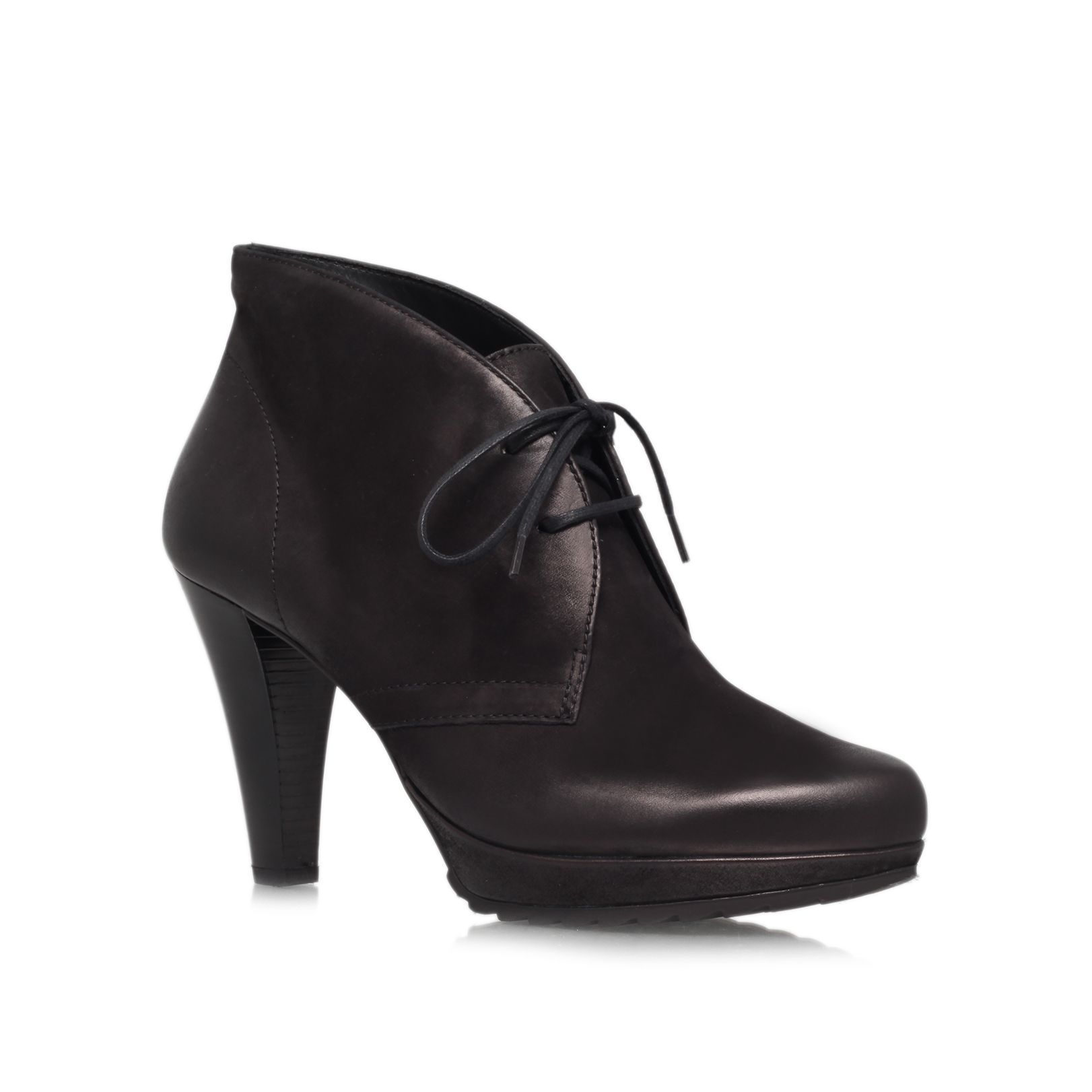 Paul Green Hollie lace up ankle boots, Black Leather
