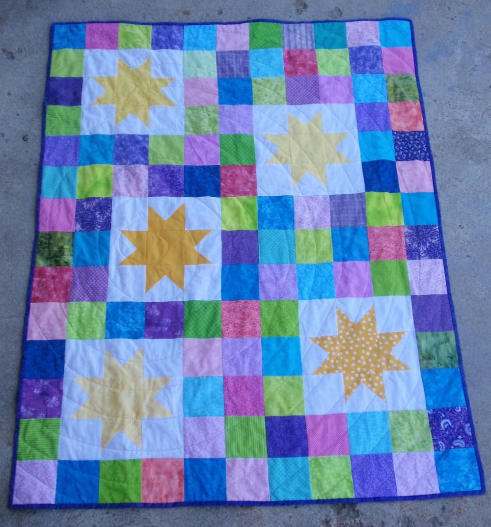 Baby crib quilt patterns free - Scrappy Star Quilt Pattern Free Baby