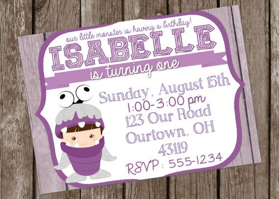 PRINTABLE Boo Monster Birthday Invitation for a Girl. Monsters Inc ...