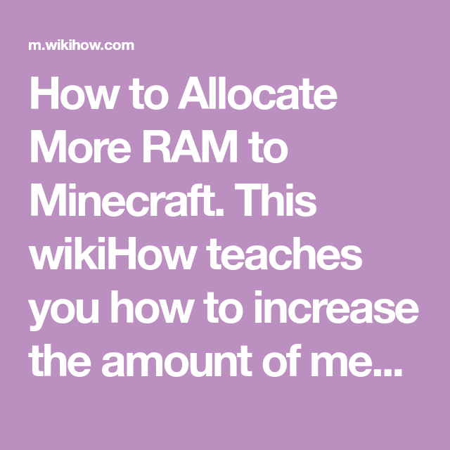 How To Allocate More Ram To Minecraft Apple Menu Ram Minecraft