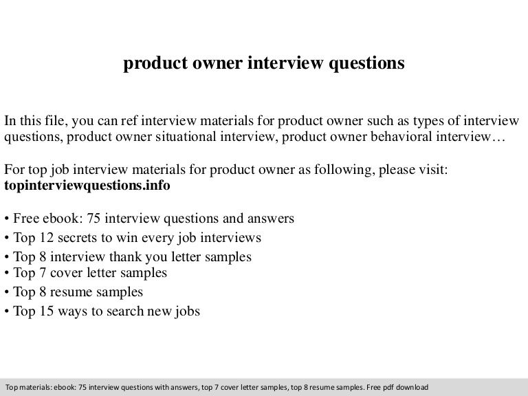 Product Owner Interview Questions In This File You Can Ref
