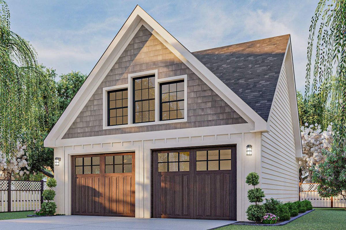Plan 62477dj Attractive Gabled 2 Car Garage In 2021 Garage Guest House Modern Farmhouse Plans Garage Exterior