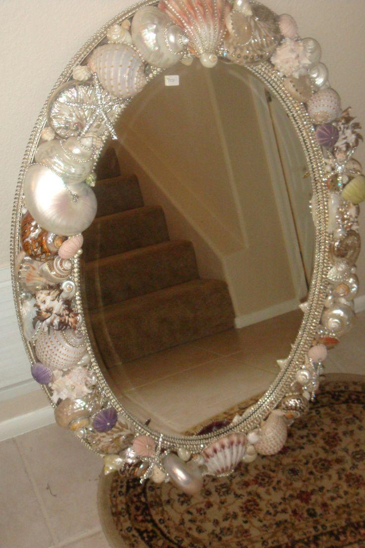 Seashell mirror diy vanity wall lilys room redecorating seashell mirror diy vanity wall solutioingenieria Images