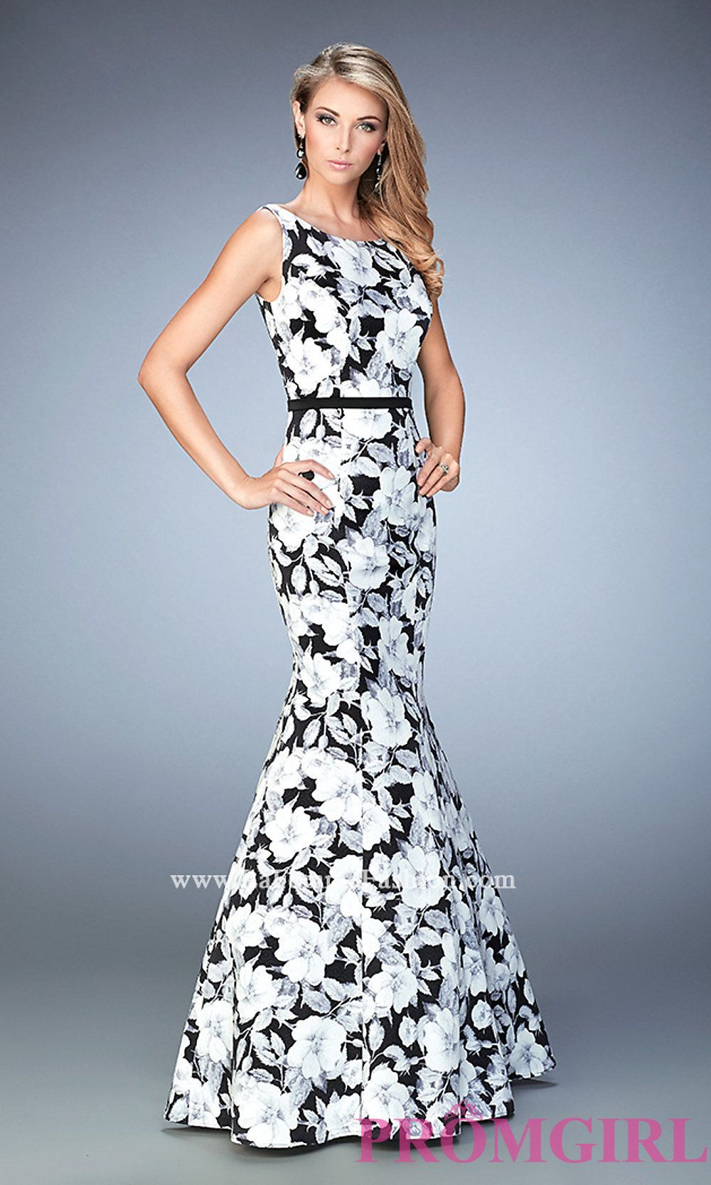 Long la femme black and white print mermaid prom dress prom