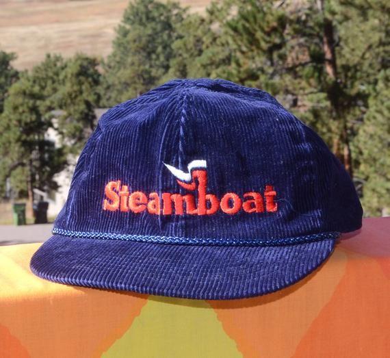 8425871aca0663 vintage 80s corduroy hat STEAMBOAT colorado ski trucker snapback cord baseball  cap