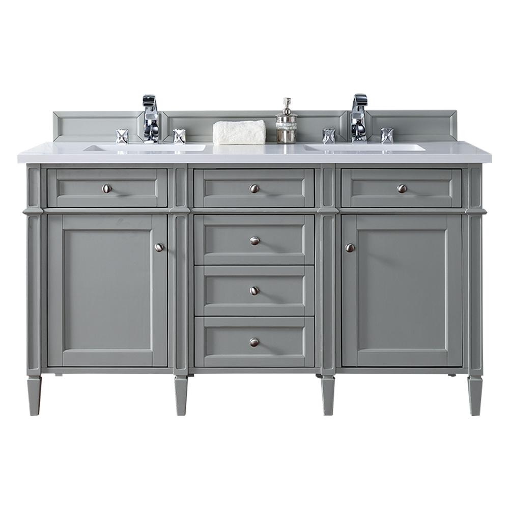 James Martin Signature Vanities Brittany 60 In W Double Vanity In Urban Gray With Quartz Vanity Top In White With White Basin 650v60dugr3snw The Home Depot Gray Double Vanity Double Sink