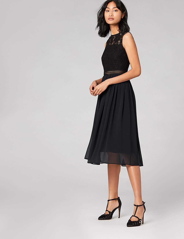 TRUTH & #Fable #Damen #Midi #Spitzenkleid #Mode #Kleid : Amazon.de