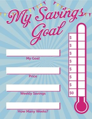 free printable my savings goal visual poster to help children
